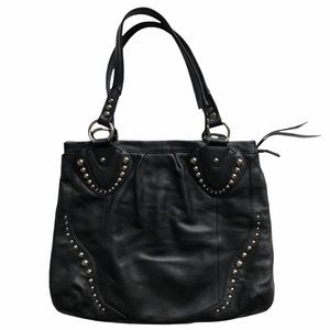 B. Makowsky Studded Black Leather Hobo Bag